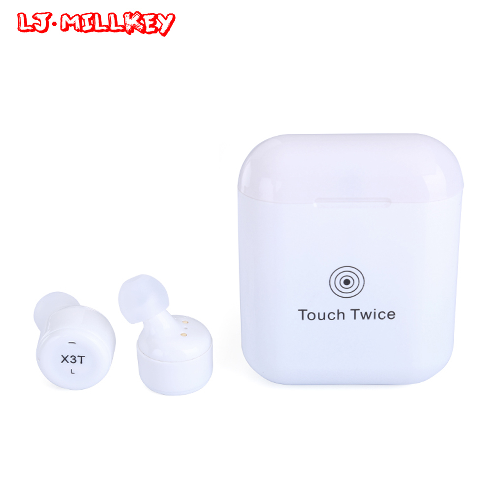 True Wireless Earbuds TWS X3T Mini Bluetooth Headset Earphone With 600mAH Charger Box Auriculares Bluetooth LJ-MILLKEY YZ138 3in1 mini bluetooth headset kulaklik usb car charger safety hammer micro wireless earphone for samsung galaxy s7 auriculares