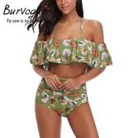 Burvogue High Waist Swimsuit Women Sexy Summer Monokini Swimwear Female Push Up Printed Bathing Suit With