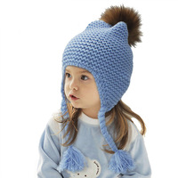 Free Ship Kids Real Fur Pom Pom Hat Baby Winter Crochet Earflap Hat Girls Boys Knitted Beanie Real Fur Pompom Hat for Children
