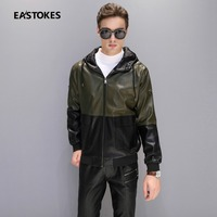 Exclusive Men Leather Coats Multifunctional Men Faux Leather Hooded Jackets Men Patchwork Leather Outerwears Men Outfits