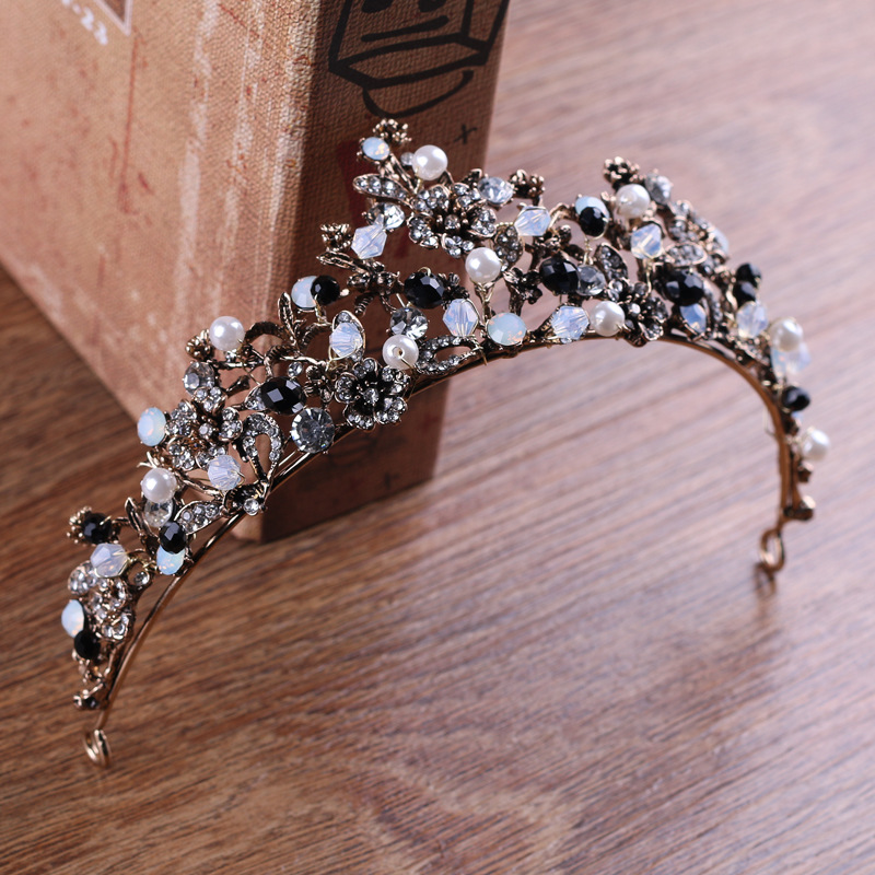 Black baroque crown and Tiaras Queen Vintage crystal Crowns 2018 Bridal Hair Accessories bride Headbands wedding hair jewelry