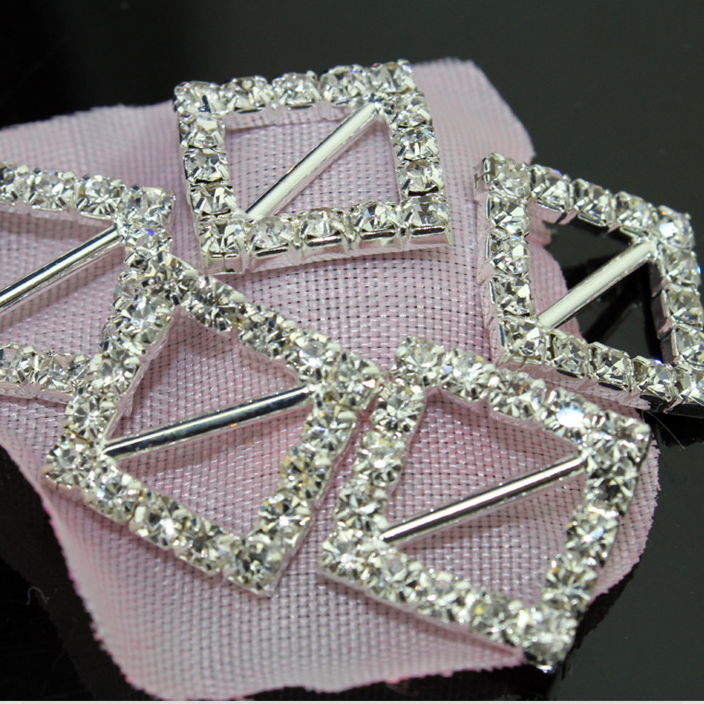 60pcs Rhinestone buckle,full of crystal fit wedding ribbon and hair ...