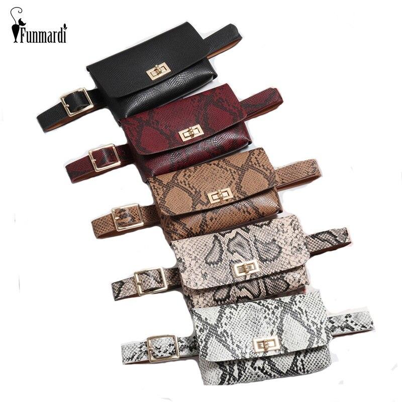 FUNMARDI Vintage Serpentine Designer Belt Bags Women Fanny Pack PU Leather Waist Bag Brand Famous Small Phone Bag Purse WLHB1835