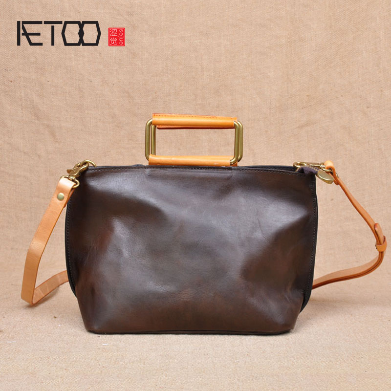 AETOO Original Japanese zipper shoulder bag Korean version of leather Messenger bag head tattoo retro simple bag handbag qiaobao 2018 new korean version of the first layer of women s leather packet messenger bag female shoulder diagonal cross bag
