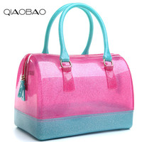 QIAOBAO 2017 Spring And Summer New Jelly Bag Women Quality PVC Handbag Candy Color Beach Crystal