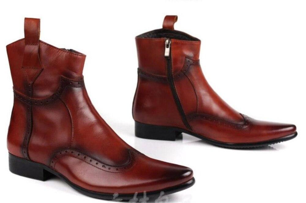 Retro tallado Borgues otoño tobillo botas puntiagudas militares Martin botas para hombre cuero Real vaquero botas de trabajo Camisa Social-in Botas de motocicleta from zapatos    1