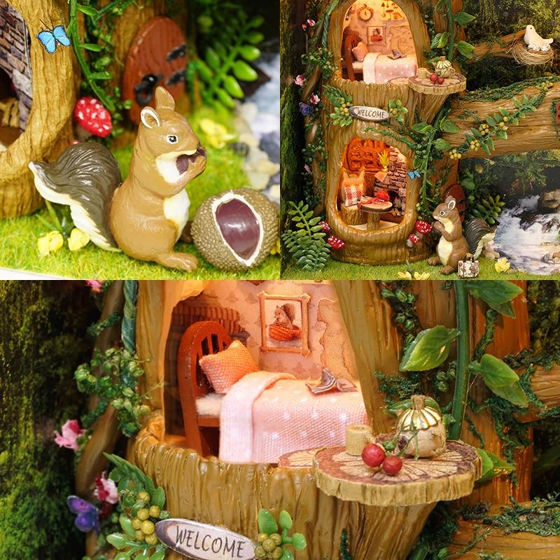 CUTEBEE DIY Kuća za lutke Kuće za drvene kućice Kuhinja za - Lutke i pribor - Foto 3