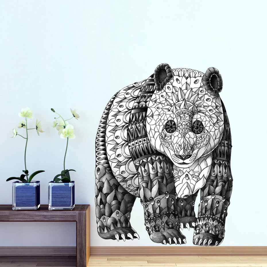 Black And White Detailed Panda Bear Retro Wall Sticker