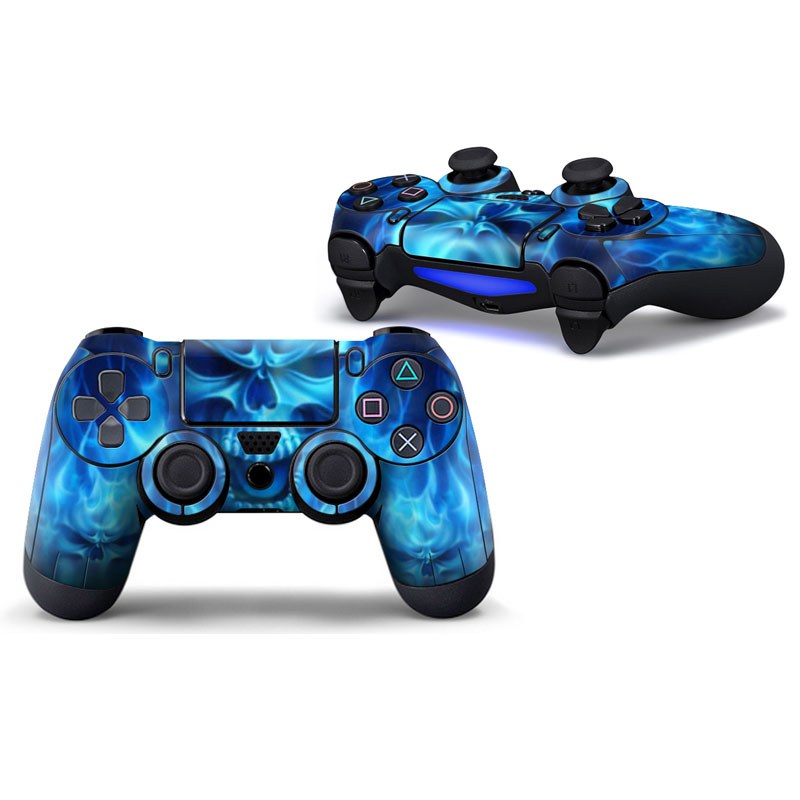 Blue Skull Protective Cover Sticker For Ps4 Controller