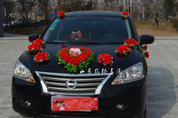 Artificial Silk Rose Flowers Wedding Car Decoration Set With Two Bears In Heart Shape