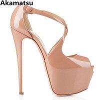 Sexy extreme high heels sandals women platform shoes cross strap wedges peep toe bridal shoes red black summer pumps escarpin