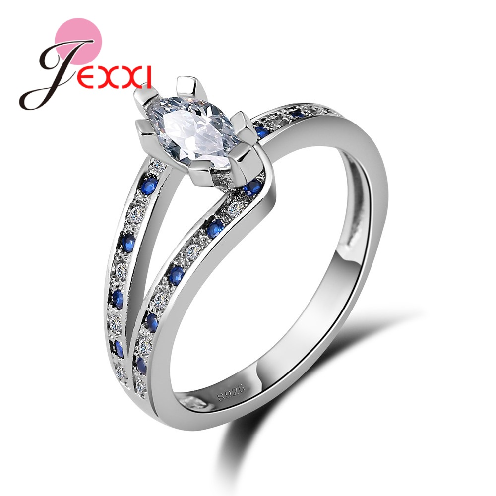 JEXXI AAA Crystal Zircon Rings Wedding Enagement Party 925 Sterling Silver Rings For Women Beautiful Wedding Romantic Gift