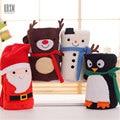 Máquina Lavável Flanela Cobertor Coral do Velo Do Bebê Super Macio Boneco de Neve/Pinguim Dos Desenhos Animados Cobertores 120X170 CM Para Camas sofá