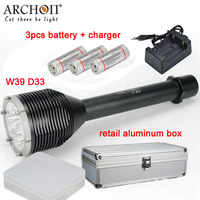 ARCHON D33 W39 Diving Light 3*XM L2 U2 LED 3000LM 100M Underwater photographing torch with batteries + charger + aluminum box