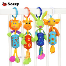 Sozzy Wind Chime Cute Animal Infant Baby Soft Crib Toy Stroller hanging Bell Rattle Mobiles for Baby Crib Newborns Children Gift(China)