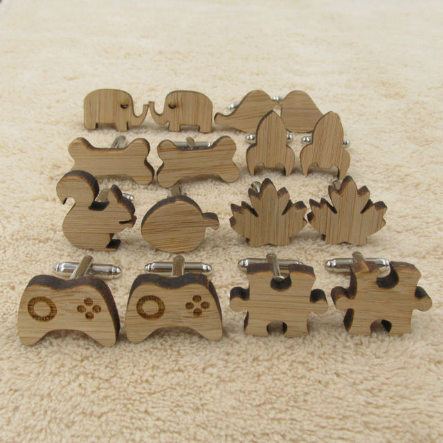 Fashion Stylish Wooden Shaped Cufflinks for Men