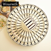 WOURMTH Steak Plate Black And White Royal Bone China Porcelain Dinner Plates Dishes Coffee Cup Saucer