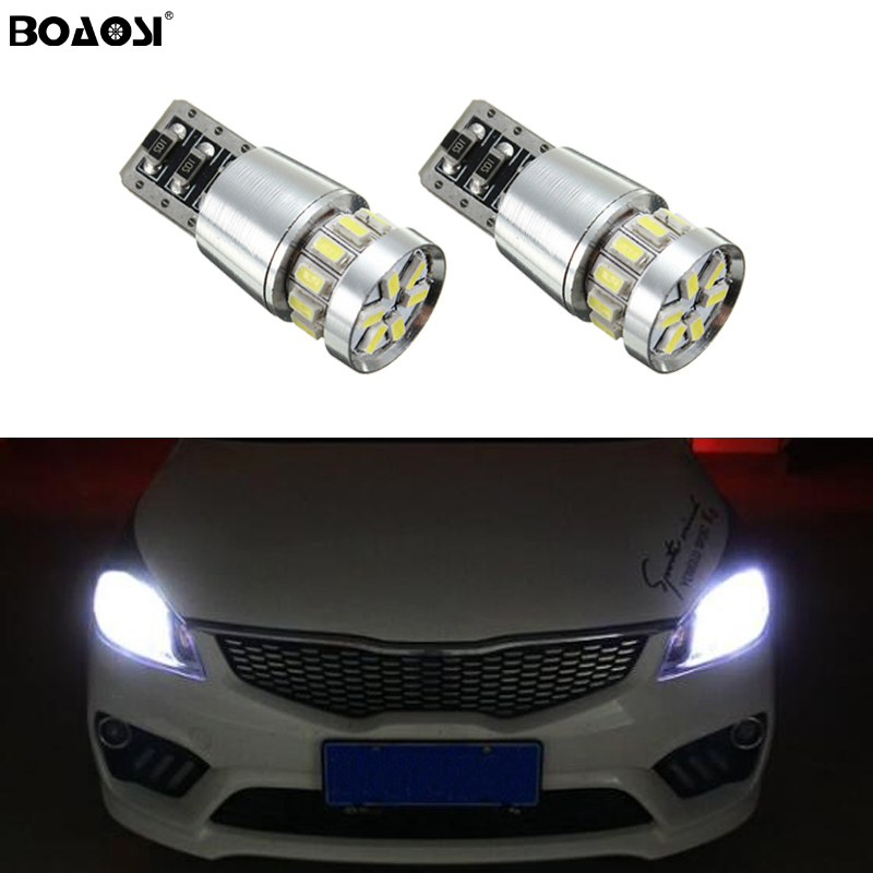 2x Canbus Car 3014 SMD T10 LED W5W Projector Lens Auto Lamp Light Bulbs for Kia sportage rio k2 k3 k5 ceed cerato sorento image