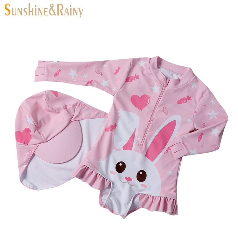 Children Cute One-piece Swimsuit Child Swimsuits For Ladies Cartoon Romper Lengthy Sleeve Swimming Go well with Ladies Clothes Units Seashore Put on Clothes Units, Low cost Clothes Units, Children...