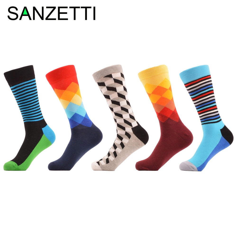 SANZETTI 5 pair/lot Mens Funny Striped Argyle Filled Optic Combed Cotton Socks Bright Colorful Crew Dress Socks Wedding Gift