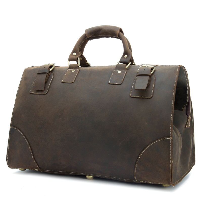 Genuine Crazy Horse Leather Men's Travel Bag Big Luggage Travel Duffle Bag Large Tote 8151