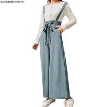 7b6debf9005b High Waist Pants Women 2018 Korean Spring Summer Ladies Wide Leg Pants Bow  Belt Frill Waist Palazzo Suspender Trousers