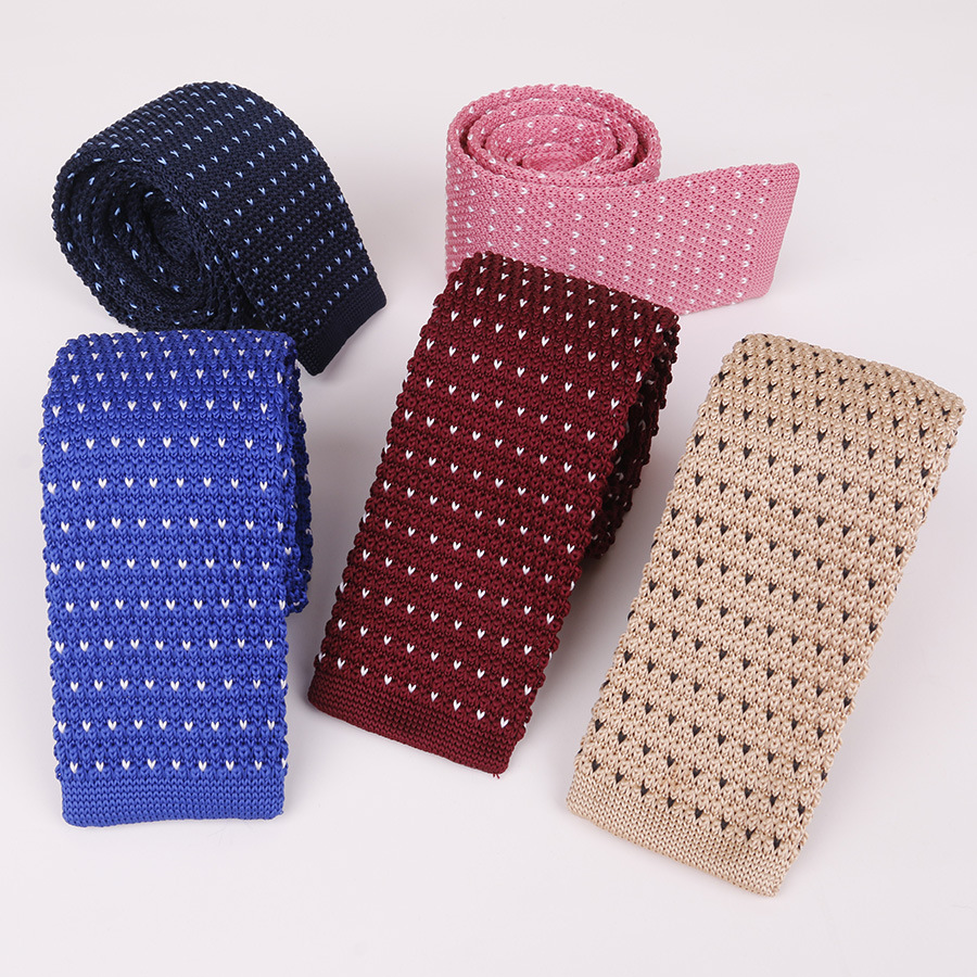 Knit 5.5cm Flat Tie Men's Tie With Modern Wool Jacquard Star Dot Skinny Necktie Gifts For Men Clothing Accessorie Wedding Party