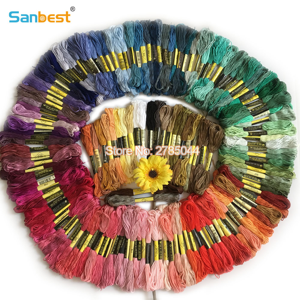 Sanbest 150 komada Multi-color štep za križ Vez Thread Bright Shiny obrt Floss šivaći konci visoke kvalitete TH00037