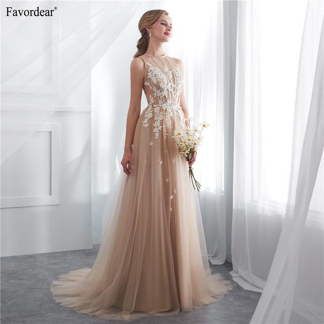 Favordear New 2019 Vestido De Noiva Simple Aline Long Bridal Gowns