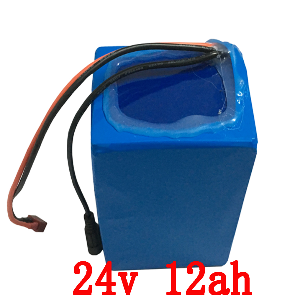 24V 12AH lithium Battery 350W 24V 12AH Electric Bike Battery pack with PVC case BMS 29.4V 2A charger Free shipping