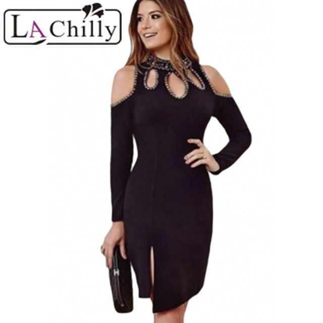 4bb12f2d2 La Chilly Floral Black Funky Studded Cutout Cold Shoulder Dress ...