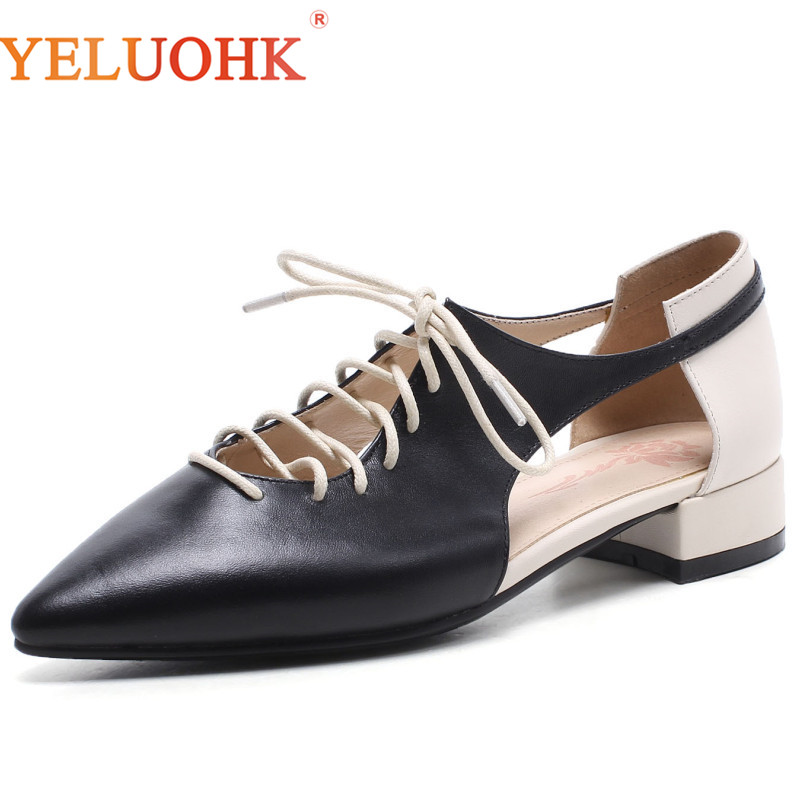 Chaussures plates en cuir véritable femmes bout pointu Top qualité dames chaussures 2018 automne femmes chaussures