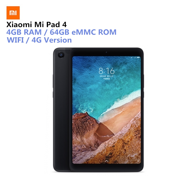 Xiaomi Mi Pad 4 Tablet PC 8.0 inch MIUI 9.0 Qualcomm Snapdragon 660 Octa Core 4GB RAM 64GB eMMC ROM Double Cameras Dual WiFi original xiaomi mi pad 4 tablets wifi lte 4gb 64gb 8 0 inch tablet pc snapdragon 660 aiecore 12 0mp 5 0mp 6000mah tablet android