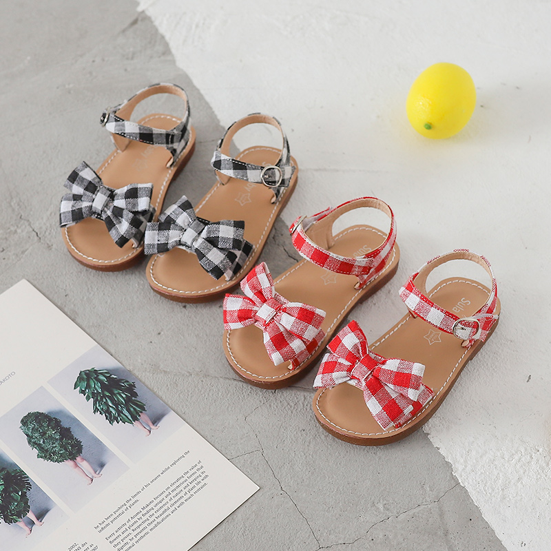 Bekamille Kids Sandals Girls Bow Lattice Flat Heel Beach Shoes Children Sandals For Girls Princess Casual Sneakers SZ040