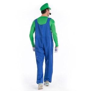 Image 5 - Super Mario Bro Luigi Cosplay Costume Set Rosso Verde Cappuccio del Cappotto Pantaloni Tute E Salopette Felpe Costumi di Halloween per Adulti Vestito Degli Uomini