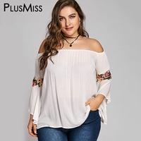 PlusMiss בתוספת גודל 5XL פעמון רקום שרוול התלקחות Boho חוף קיץ כבוי כתף שיפון חולצות חולצות נשים Loose חולצות 2018