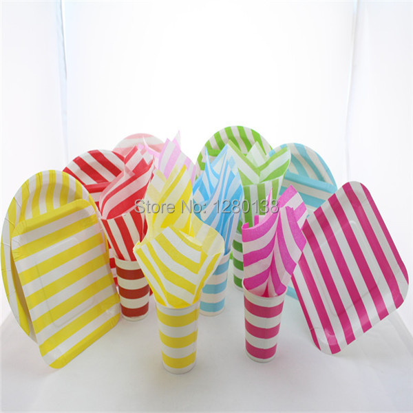Disposable Paper Tableware Set Striped Cups Square Round Plates Wedding Party Supplies Napkins In Event From Home Garden On