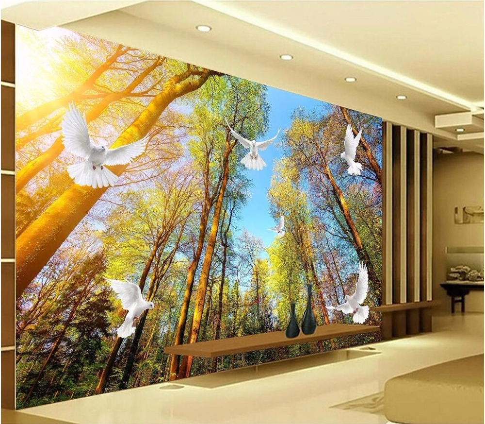 Custom photo mural 3d wallpaper Forest landscape dove decoration ...