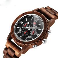 Men's Multifunctional Sports Quartz Sandalwood Watch New Fashion Waterproof Calendar Watch