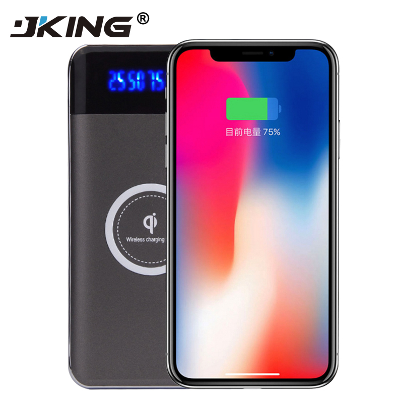 JKING Portable 10000mAh Qi Wireless Power Bank with Dual USB Port & Type-C Port & LED Display Mobile Charger for iPhone 8 8 Plus
