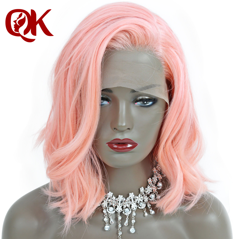 Queenking Hair 250 Density Pink Short Human Hair Bob Lace Front Wigs with Baby Hair Natural