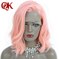 Queenking волос 250% плотность розовые короткие человеческих волос Боб Синтетические волосы на кружеве парики с волосами младенца естественно во