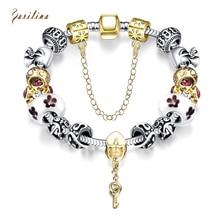 Cute jewelry Crystal beads Silver  bracelet Glass Bead Bracelet for Women Safety Chain Strand Luxury B2024