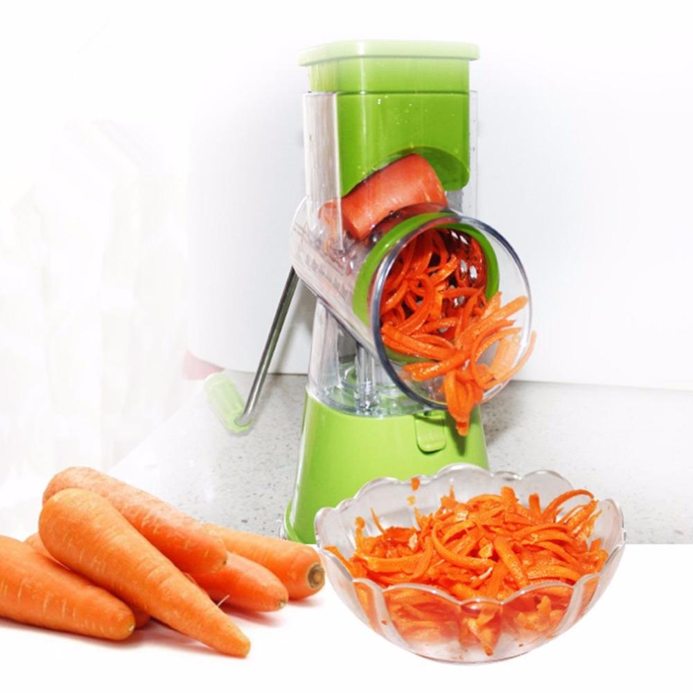 3 In1 Manual Vegetables Grinder Fruit Cutter Slices/Crocus Shred Hand Push Mandoline Slicer Shredders Stainless Steel Blades