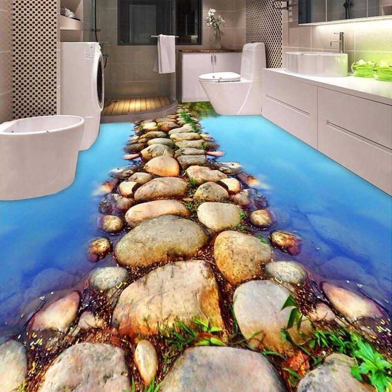 Custom 3d Floor Wallpaper Flowers Road Bathroom Kitchen: Custom 3D Floor Mural Wallpaper River Stone Road Bathroom