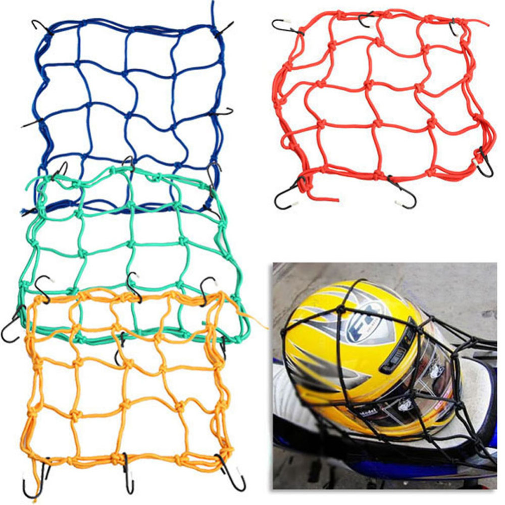 6 Hooks 30*30cm Motorcycle Mesh Net Bag Luggage Cargo Bungee Net Bag Storage Carrier Bag Helmet Holder for Motorcycle Scooter ...