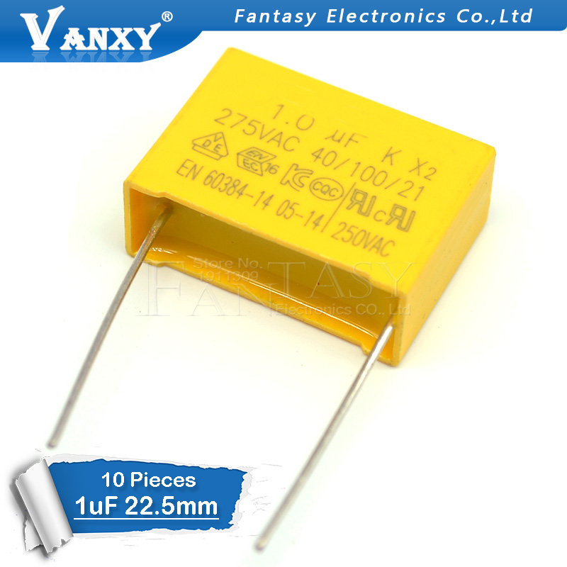 10pcs Capacitor X2 Capacitor 275VAC Pitch 22.5mm X2 275V Polypropylene Film Capacitor 1uF