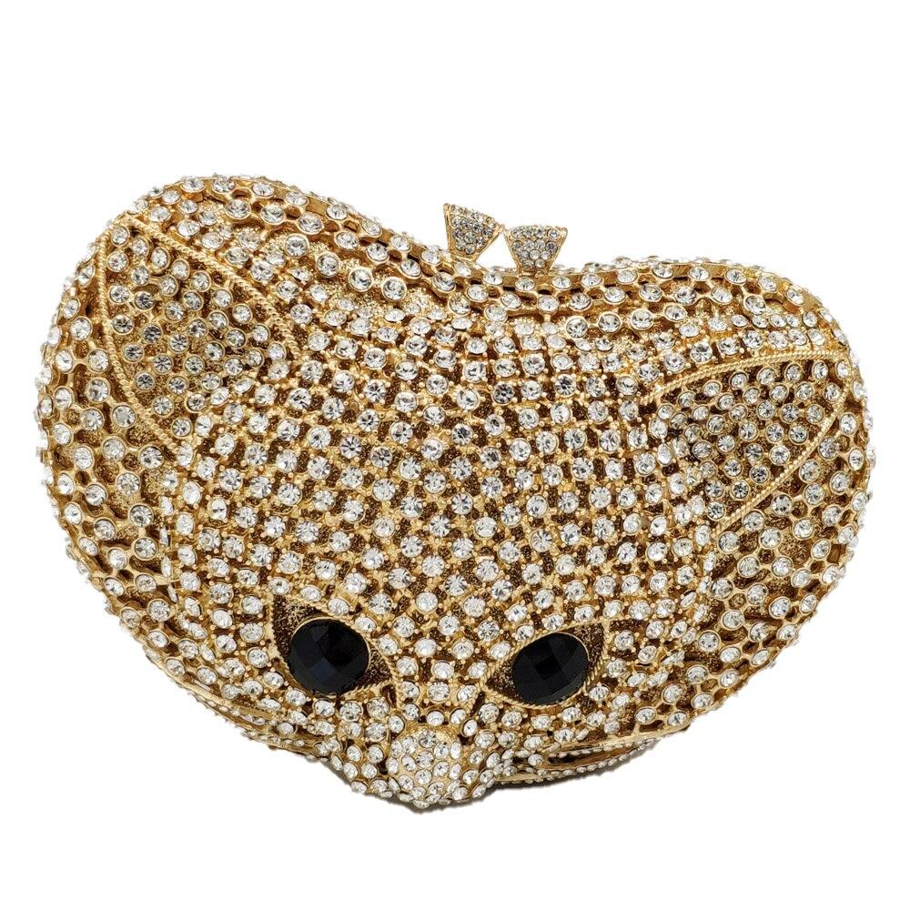 부티크 드 fgg 사랑스러운 3d 여우 모양 여성 동물 저녁 가방 럭셔리 다이아몬드 minaudiere 클러치 웨딩 파티 핸드백과 지갑-에서탑 핸드백부터 수화물 & 가방 의  그룹 2