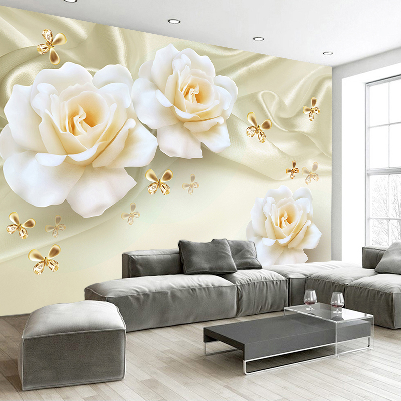 Custom Any Size 3D Wall Painting Rose Flower Butterfly Silk Non-woven Fabric Large Mural Wallpaper Living Room Sofa TV Backdrop