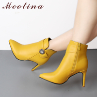 Meotina Winter Ankle Boots Women Thin High Heel Boots Crystal Short Boots Pointed Toe Ladies Sexy Shoes Yellow White Size 45 46